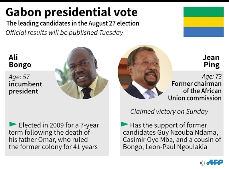 Gabonese President Ali Bongo casts his vote at a polling station in Libreville during the presidential election on August 27, 2016 (AFP Photo/Vincent LEFAI, Philippe MOUCHE)