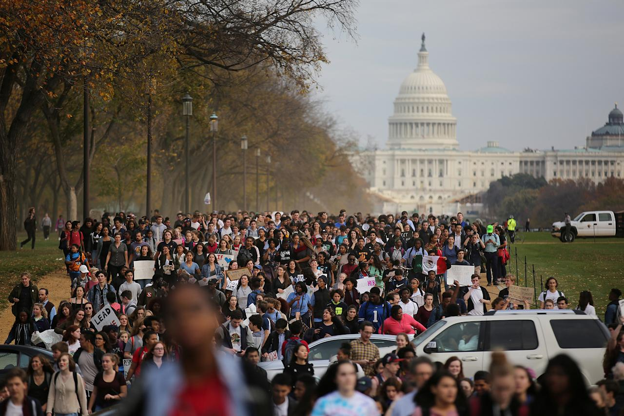 <p>Students march along the National Mall during a protest against President-elect Donald Trump in Washington on Nov. 15, 2016. (Carlos Barria/Reuters) </p>