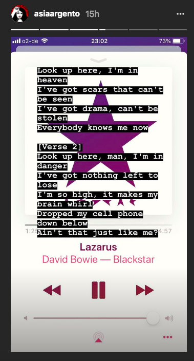"Argento has been listening to David Bowie's ""Lazarus"" since Anthony Bourdain died. ""Look up here, I'm in heaven,"" it begins. (Image: Asia Argento via Instagram)"