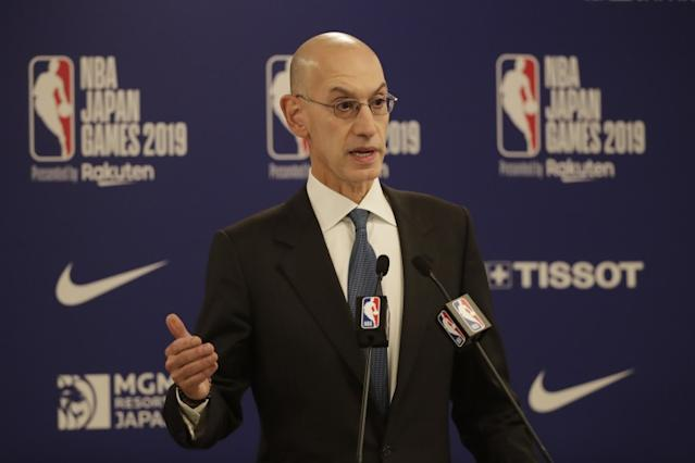 "NBA Commissioner Adam Silver hasn't announced how the league will format play when the season resumes. <span class=""copyright"">(Jae C. Hong / Associated Press)</span>"