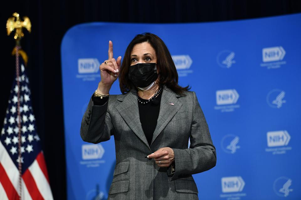 US Vice President Kamala Harris speaks after receiving her second dose of the Covid-19 vaccine at the National Institutes of Health, in Bethesda, Maryland, on January 26, 2021. (Photo by Brendan Smialowski / AFP) (Photo by BRENDAN SMIALOWSKI/AFP via Getty Images)