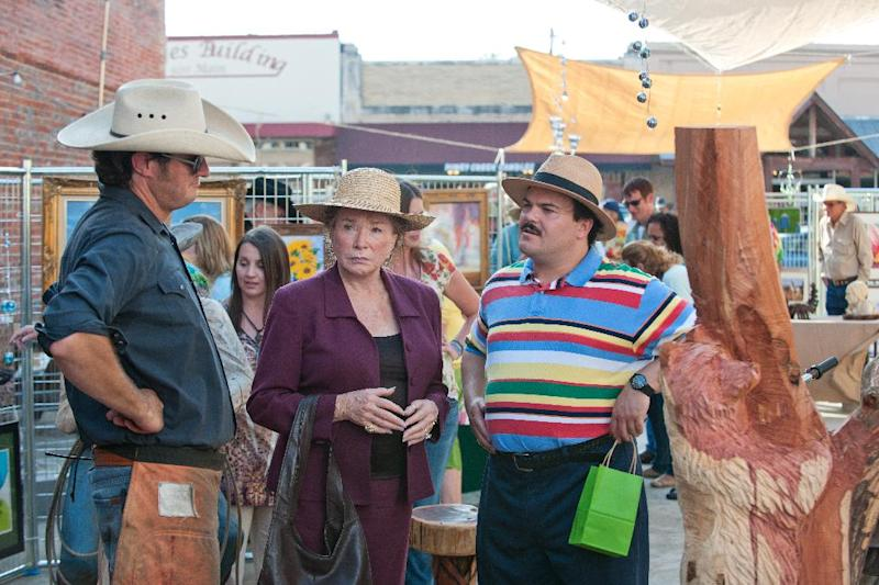 """In this film publicity image released by Millennium Entertainment, Shirley MacLaine portrays Marjorie Nugent, center, and Jack Black portrays Bernie Tiede, right, in a scene from """"Bernie."""" (AP Photo/Millennium Entertainment, Van Redin)"""
