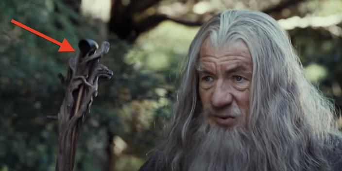 """You can see the pipe at the top of Gandalf's staff in this shot. <p class=""""copyright"""">New Line Cinema</p>"""