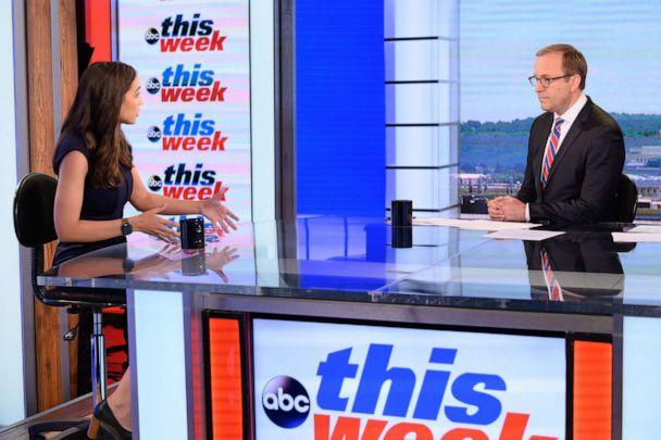 PHOTO: Chief White House Correspondent Jonathan Karl speaks exclusively with Rep. Alexandria Ocasio-Cortez, D-N.Y., in her first Sunday morning interview since taking office on 'This Week with George Stephanopoulos,' June 16, 2019 on ABC. (Lorenzo Bevilaqua/ABC News)