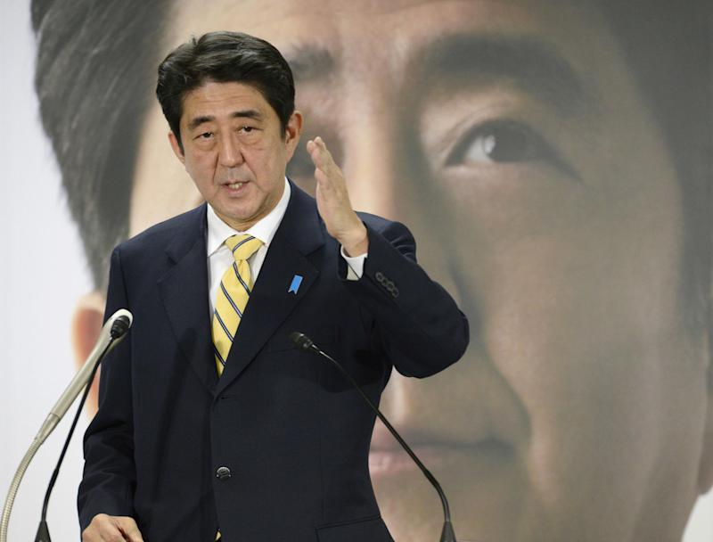 Japan's Abe says strong economy tops his platform