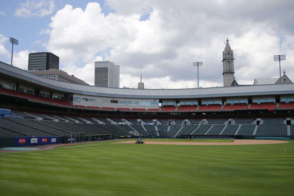 FILE - In this July 24, 2020, file photo, Sahlen Field, home of the Toronto Blue Jays' Triple-A affiliate, in Buffalo, N.Y., is viewed. The Blue Jays will walk onto the field Tuesday, Aug. 11, 2020, as the host team for the first time in 2020. (AP Photo/Jeffrey T. Barnes, File)