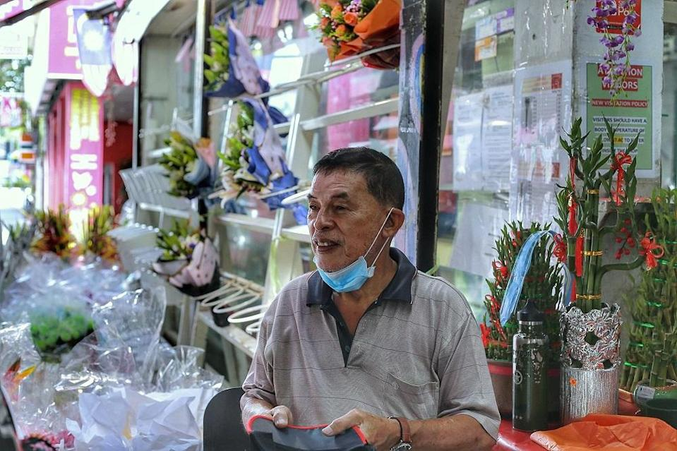 Weng Hoa Flower Boutique Sdn Bhd owner Lai Kum Thong speaks during an interview in Kuala Lumpur February 11, 2021. ― Picture by Ahmad Zamzahuri
