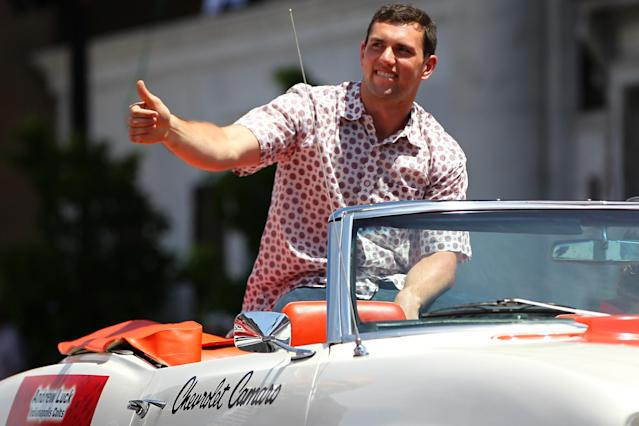 INDIANAPOLIS, IN - MAY 24: Andrew Luck waves to the crowd during the Indianapolis 500 parade on May 24, 2014 in Indianapolis, Indiana. (Photo by Jonathan Ferrey/Getty Images)
