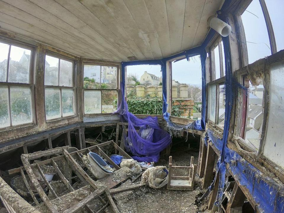 Much of the interior is covered in bird faeces (Picture: SWNS)