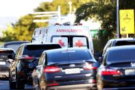 A presidential convoy with an ambulance transporting Brazil's President Jair Bolsonaro leaves the armed forces hospital (HFA) in Brasilia