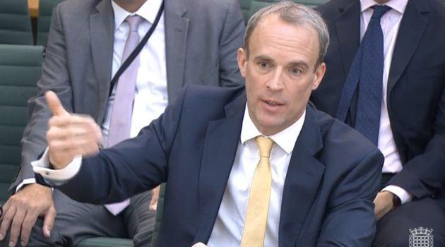 Dominic Raab giving evidence to the Commons Foreign Affairs Committee about his part in the Afghanistan crisis (Photo: House of Commons - PA Images via Getty Images)