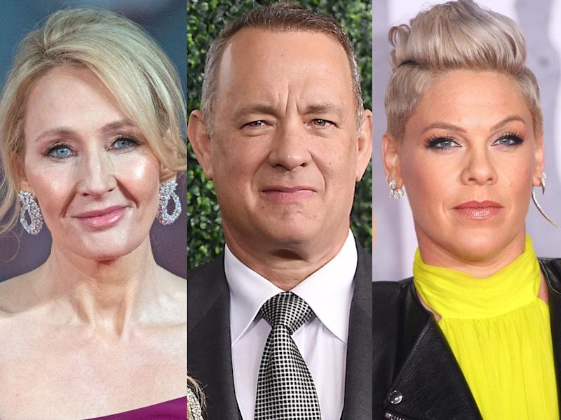 J.K. Rowling, Tom Hanks, and Pink