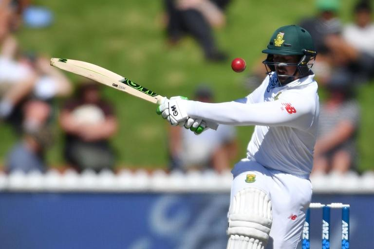 South Africa's keeper Quinton de Kock races to his eighth Test 50 in 55 balls in the second Test against New Zealand in Wellington