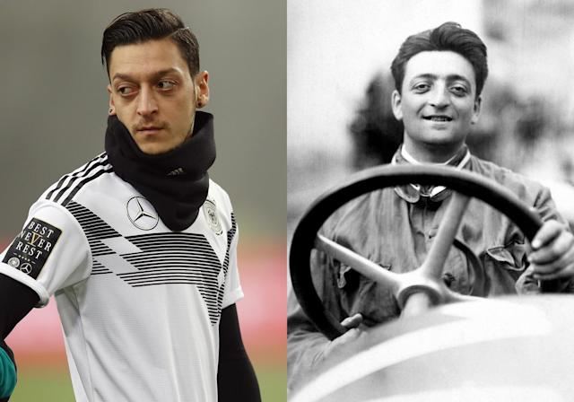 <p>German midfielder Mesut Ozil and Enzo Ferrari, founder of Ferrari </p>