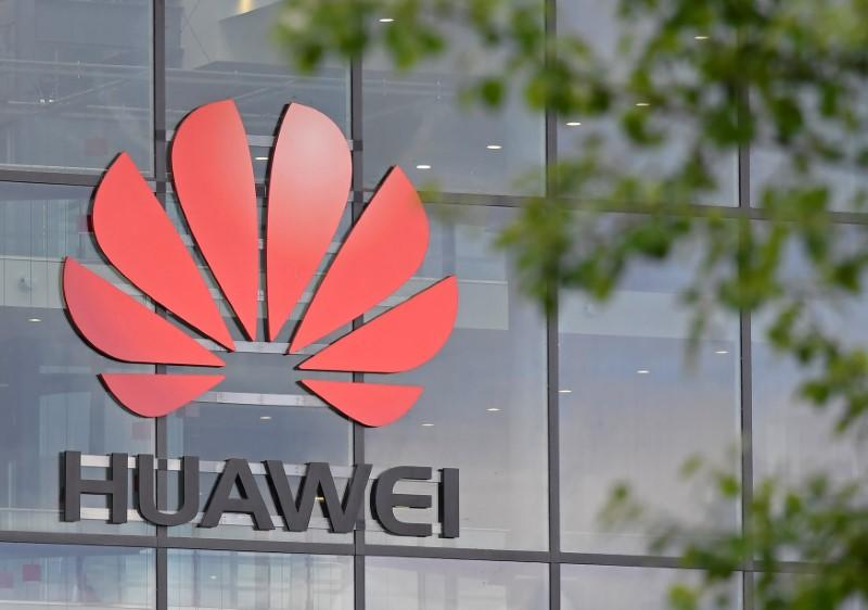 FILE PHOTO: Signage is seen at the Huawei offices in Reading