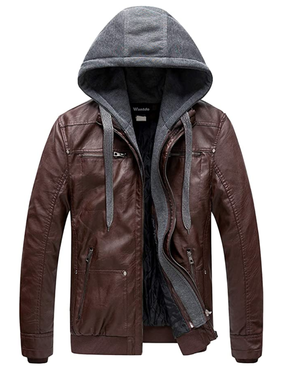 Wantdo Men's Leather Jacket with Removable Hood. Image via Amazon.