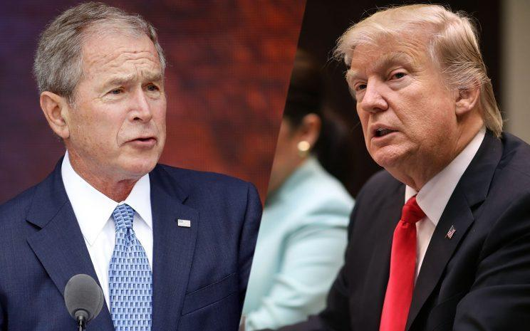 Former President George W. Bush and President Trump. (Photos: Pablo Martinez Monsivais/AP, Chip Somodevilla/Getty Images)