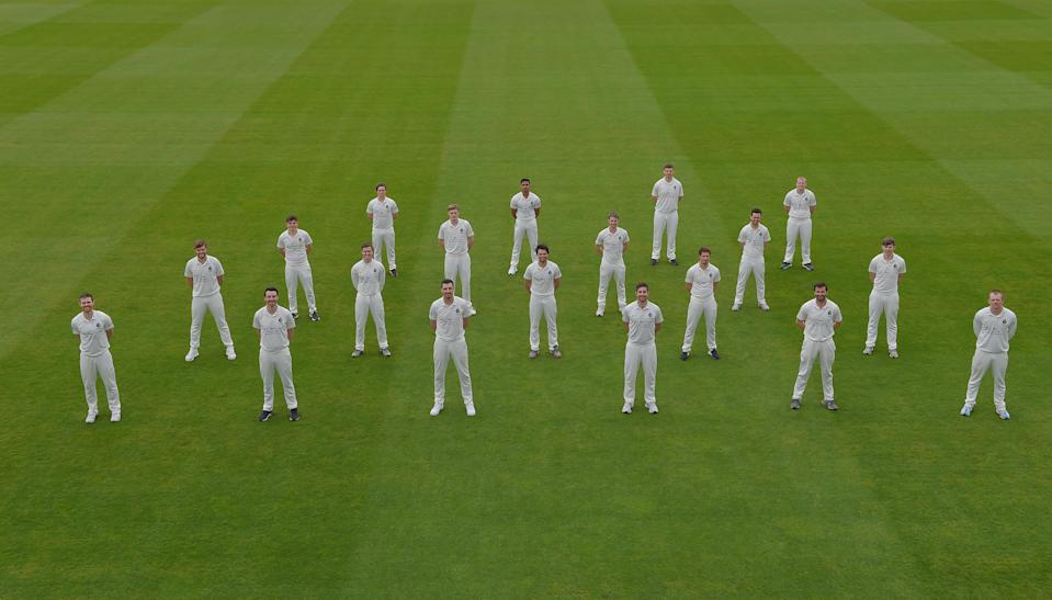 The Middlesex squad stand to attention for their socially-distanced pohotshoot at Lord's (Matt Bright Photography/Middlesex)