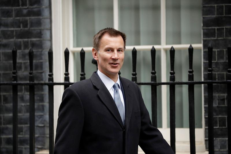 Britain's Foreign Secretary Jeremy Hunt arrives for a cabinet meeting at 10 Downing Street in London, Tuesday, March 19, 2019. (AP Photo/Matt Dunham)