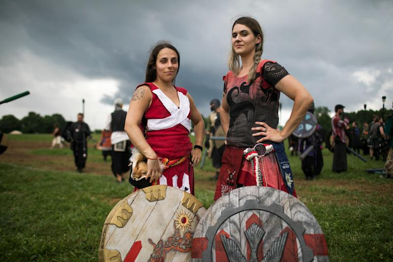 Ianje Castallanos and Sev Gedra, Queens of Ragnarok. (Photo: Maddie McGarvey for HuffPost)