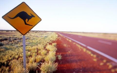 Australia, South Australia, Marla, kangaroo crossing sign near highway - Credit: Bob Stefko/Getty Images
