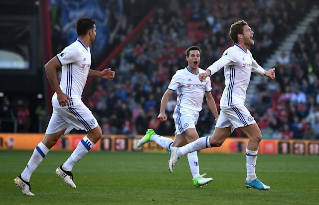 <p>Marcos Alonso celebrates making it 3-1 to Chelsea</p>