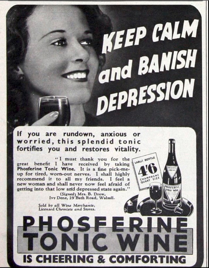 An ad for Phosferine Tonic Wine sells it as a way to 'banish depression'. Photo: Phosferine/Twitter