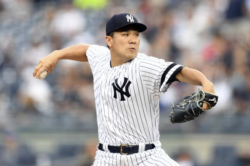 New York Yankees starting pitcher Masahiro Tanaka delivers during the first inning of a baseball game against the Tampa Bay Rays, Monday, June 17, 2019, in New York. (AP Photo/Sarah Stier)