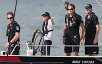 Kate shrugs as she beats her husband in a sailing race on their royal tour of New Zealand in April 2014. <em>[Photo: Getty]</em>
