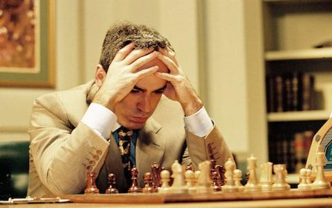 Gary Kasparov playing against Deep Blue - Credit:  Rex Features