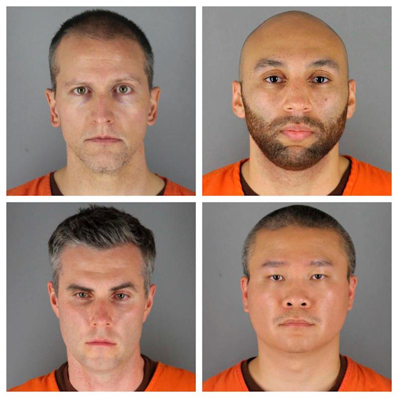 This combination of photos provided by the Hennepin County Sheriff's Office in Minnesota on June 3, 2020, shows, top row from left, Derek Chauvin, and J. Alexander Kueng, bottom row from left, Thomas Lane and Tou Thao. Chauvin is charged with second-degree murder of George Floyd, a black man who died after being restrained by him and the other Minneapolis police officers on May 25. Kueng, Lane and Thao have been charged with aiding and abetting Chauvin.
