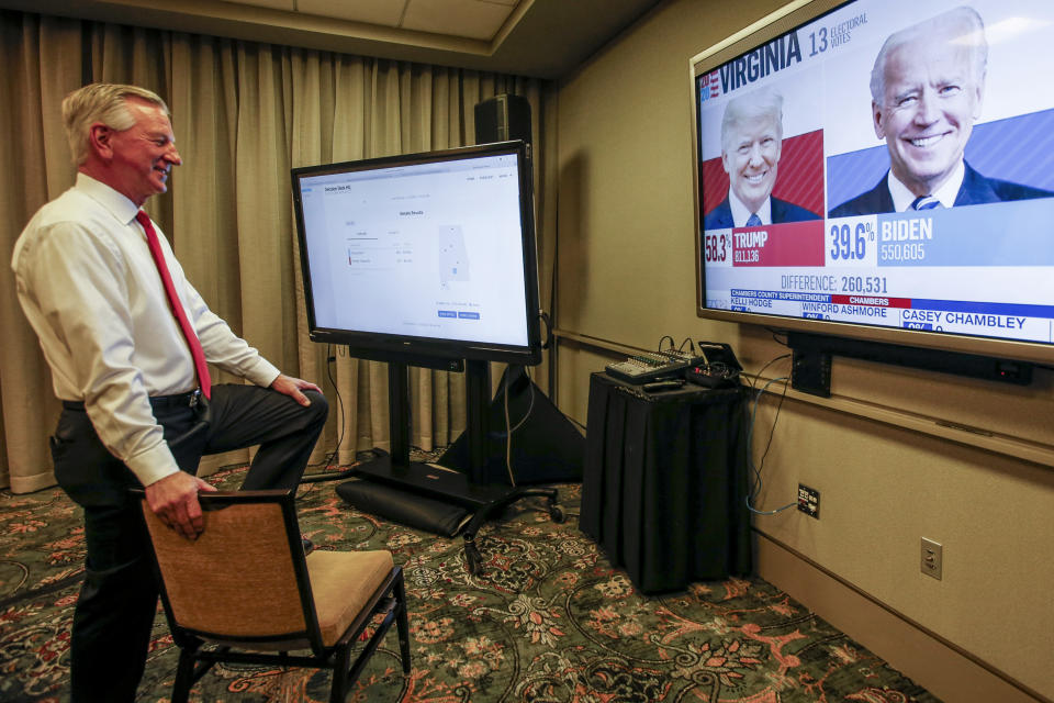 Republican Senate candidate Tommy Tuberville watches the results come in as he waits at his watch party at the Renaissance Hotel on Tuesday, Nov. 3, 2020, in Montgomery, Ala. (AP Photo/Butch Dill)