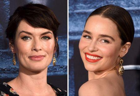 "Cast members Lena Headey (L) and Emilia Clarke are shown in this combination photo at they attend the premiere for the sixth season of HBO's ""Game of Thrones"" in Los Angeles April 10,, 2016.  REUTERS/Phil McCarten/File Photos"
