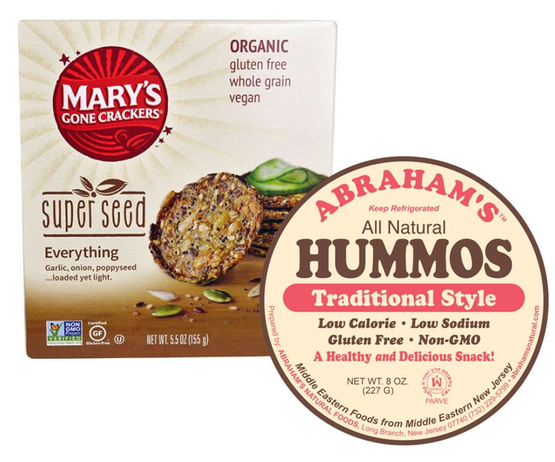 """<p>""""Protein and fiber-packed hummus will fill you up without filling you out. Made primarily from chickpeas, which are known to aid in weight loss, don't feel guilty for digging in. You do want to watch out for brands that add unhealthy oils or excessive sodium, though. Instead, choose those made with olive oil and less than 80mg sodium per 2 Tbsp. serving. Pair hummus with carrot or broccoli sticks for even more nutrients and fiber, or a high quality gluten-free cracker.""""</p>  <p><em>Maria's Pick: <a rel=""""nofollow"""" href=""""http://www.abrahamsnatural.com/"""">Abrahams Hummus</a> or Pita Pal Hummus with <a rel=""""nofollow"""" href=""""http://linksynergy.walmart.com/fs-bin/click?id=93xLBvPhAeE&subid=0&offerid=233310.1&type=10&tmpid=273&RD_PARM1=https%253A%252F%252Fwww.walmart.com%252Fip%252FMary-s-Gone-Crackers-Super-Seed-Crackers-Everything-5-5-oz-pack-of-2%252F355300318%253F&RD_PARM2=wmlspartner%253Dwlpa%2526selectedSellerId%253D6683%2526adid%253D22222222227073060024%2526wmlspartner%253Dwmtlabs%2526wl0%253D%2526wl1%253Dg%2526wl2%253Dc%2526wl3%253D184870452951%2526wl4%253Dpla-287424198462%2526wl5%253D9004142%2526wl6%253D%2526wl7%253D%2526wl8%253D%2526wl9%253Dpla%2526wl10%253D115057107%2526wl11%253Donline%2526wl12%253D355300318%2526wl13%253D%2526veh%253Dsem&u1=ISsnacksVM"""">Mary's Gone Crackers Superseed Crackers</a></em></p>"""