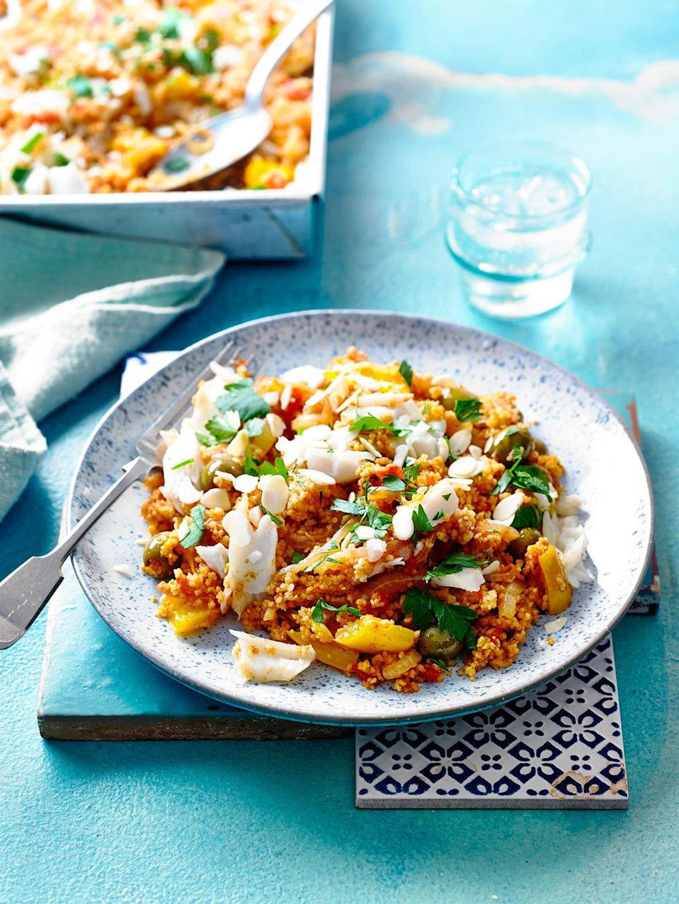 """<p>Harissa paste is a great flavour enhancer to keep in your fridge for whenever you need some spice.</p><p><strong>Recipe: <a href=""""https://www.goodhousekeeping.com/uk/food/recipes/a29103312/fish-tagine-traybake/"""" rel=""""nofollow noopener"""" target=""""_blank"""" data-ylk=""""slk:Fragrant Fish Tagine Traybake"""" class=""""link rapid-noclick-resp"""">Fragrant Fish Tagine Traybake</a></strong></p>"""
