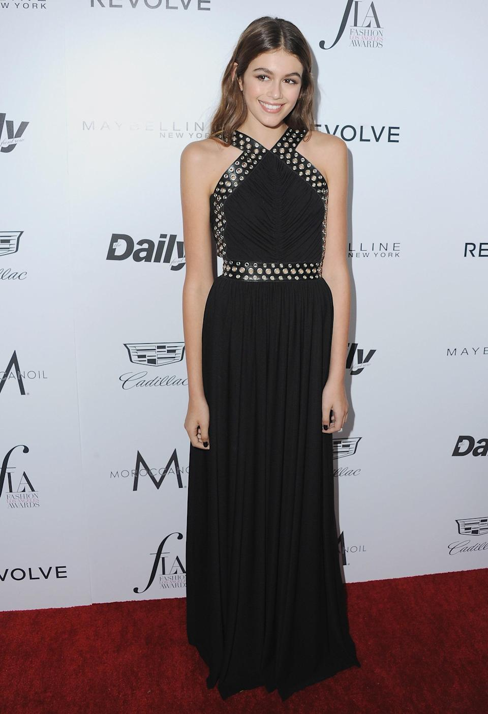 A not-so-typical black is one of Kaia's red-carpet staples. For The Daily Front Row Fashion Los Angeles Awards, she wore a long black gown accented with leather and grommets.