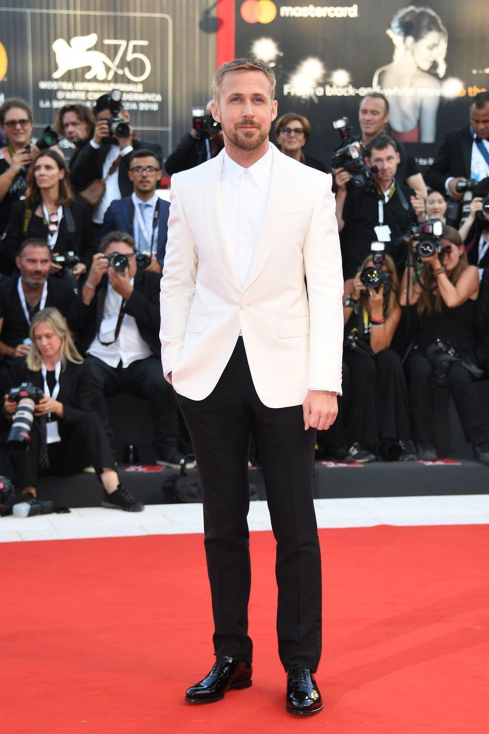 <p>Wearing Gucci at the screening of <em>First Man.</em></p>