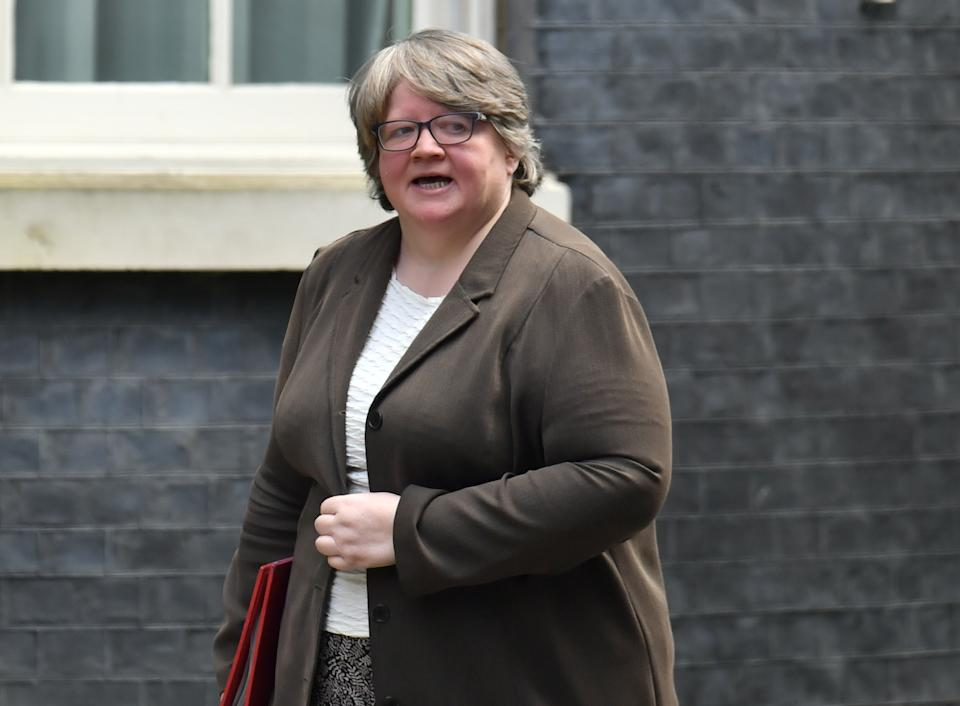 Work and Pensions Secretary Therese Coffey arriving in Downing Street, London, for a cabinet meeting the day after Prime Minister Boris Johnson called on people to stay away from pubs, clubs and theatres, work from home if possible and avoid all non-essential contacts and travel in order to reduce the impact of the coronavirus pandemic. (Photo by Dominic Lipinski/PA Images via Getty Images)