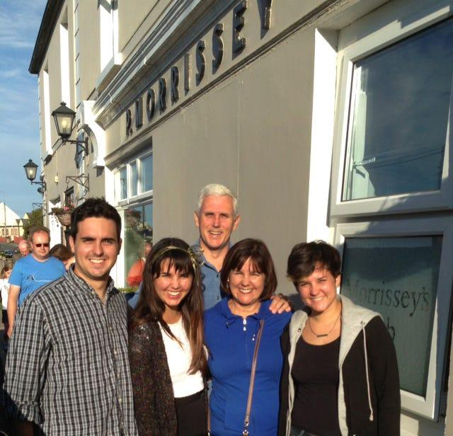 During a 2013 trip to Ireland, Mike Pence and his family visited Morrissey's Pub, owned by a distant cousin in the village of Doonbeg.