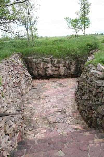 This June 5, 2013 photo shows a quarry at Pipestone National Monument in Minnesota. More than 50 Native Americans travel to Pipestone to quarry catlinite that will then be carved into pipes used in traditional ceremonies. The site also offers a museum and trail for visitors. (AP Photos/Kristi Eaton)