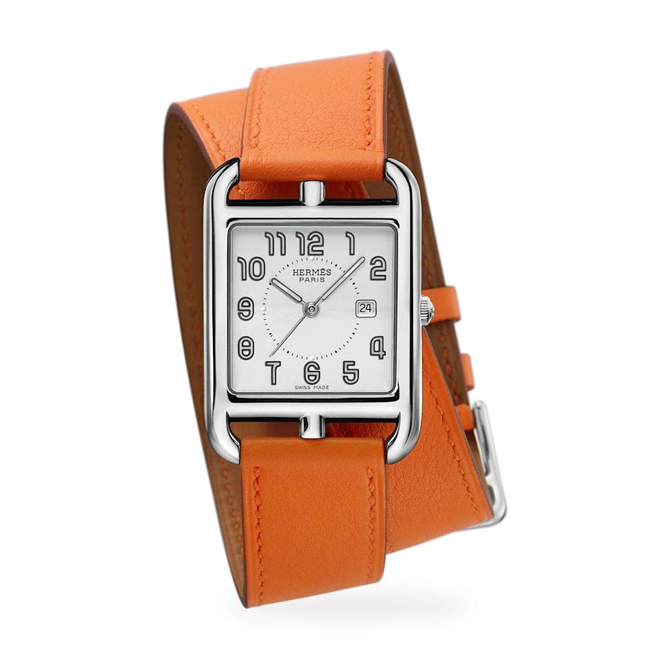 <p>The Hermès Cape Cod double-strap watch has been a status symbol for decades, and it's easy to see why. Not only does it have a water resistance of up to 3 ATM, which means it can last against quick splashes of water, but the timepiece also features a stainless steel face and a Swiss quartz movement. While there are a variety of strap colors to choose from, we love the iconic Hermès orange shade the most. The best part? It comes with a two-year international warranty in case you run into any issues with the watch.</p>