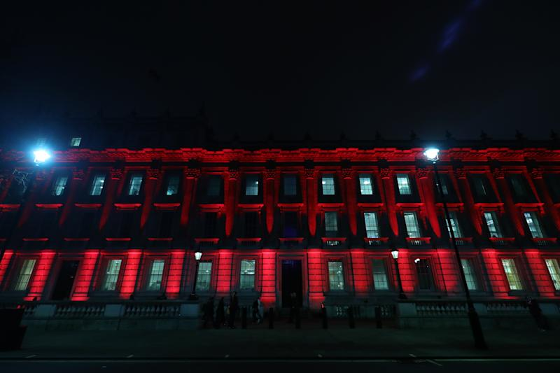 The Union Jack colours are lit up on Downing Street, London, as the UK leaves the European Union after 47 years.