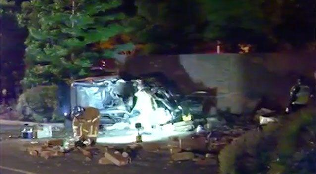Five people were left injured after a car crashed into a brick wall in Melbourne. Source: 7 News