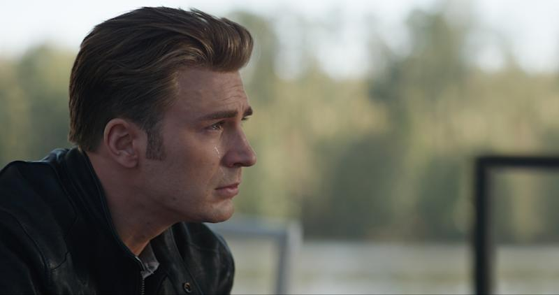 Actor Chris Evans cries in a scene from Avengers: Endgame.