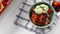 """<p><strong>Recipe: </strong><a href=""""https://www.southernliving.com/recipes/cherry-tomato-cobbler-with-basil-ice-cream"""" rel=""""nofollow noopener"""" target=""""_blank"""" data-ylk=""""slk:Cherry Tomato Cobbler with Basil Ice Cream"""" class=""""link rapid-noclick-resp""""><strong>Cherry Tomato Cobbler with Basil Ice Cream</strong></a></p> <p>Elizabeth Heiskell created this fun recipe that proves you can even use your cherry tomatoes at dessert.</p>"""