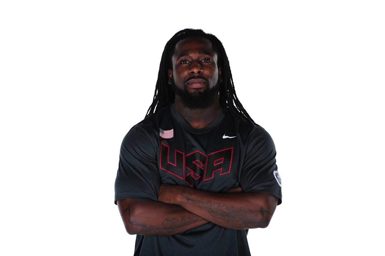 WEST HOLLYWOOD, CA - NOVEMBER 15:  Weightlifter Kendrick Farris poses for a portrait during the USOC Portrait Shoot at Smashbox West Hollywood on November 15, 2011 in West Hollywood, California.  (Photo by Harry How/Getty Images for USOC)