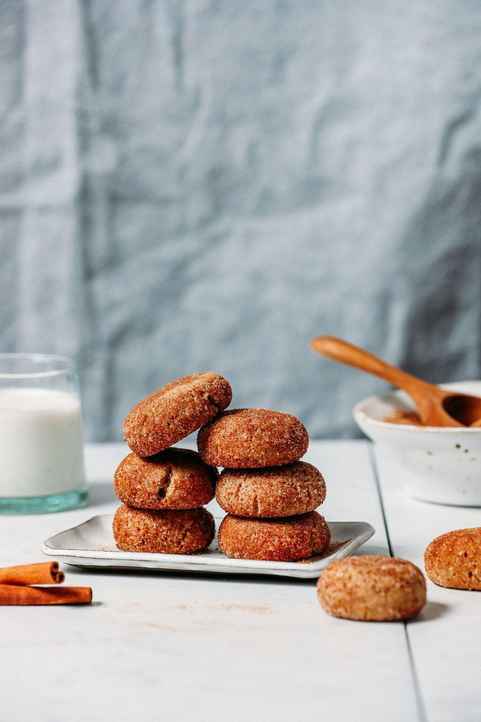 """<p>Fluffy, crisp, and spiked with cinnamon, these are sure to be your new favorite holiday cookies. They're vegan, gluten-free, and naturally sweetened too!</p><p><strong>Get the recipe at <a href=""""https://minimalistbaker.com/1-bowl-snickerdoodle-cookies-vegan-gf/"""" rel=""""nofollow noopener"""" target=""""_blank"""" data-ylk=""""slk:Minimalist Baker"""" class=""""link rapid-noclick-resp"""">Minimalist Baker</a>.</strong></p>"""