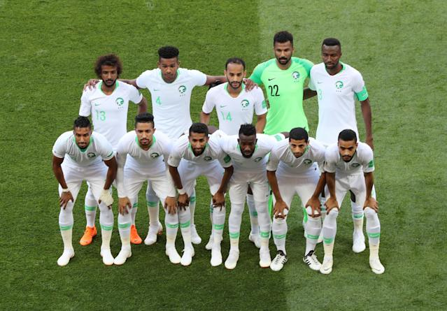 Soccer Football - World Cup - Group A - Uruguay vs Saudi Arabia - Rostov Arena, Rostov-on-Don, Russia - June 20, 2018 Saudi Arabia players pose for a team group photo before the match REUTERS/Marcos Brindicci