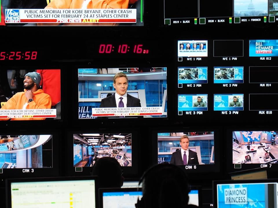 The control room for Bill Hemmer's show, in February 2020.