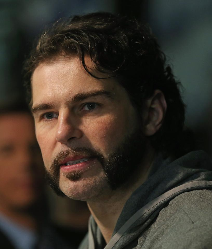 CHICAGO, IL - JUNE 11:  Jaromir Jagr of the Boston Bruins answers questions during the 2013 NHL Stanley Cup media day at the United Center on June 11, 2013 in Chicago, Illinois.  (Photo by Jonathan Daniel/Getty Images)